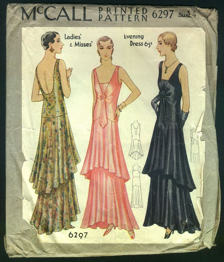 1930 McCall Pattern - Ladies' Stunning Tiered Evening Gown