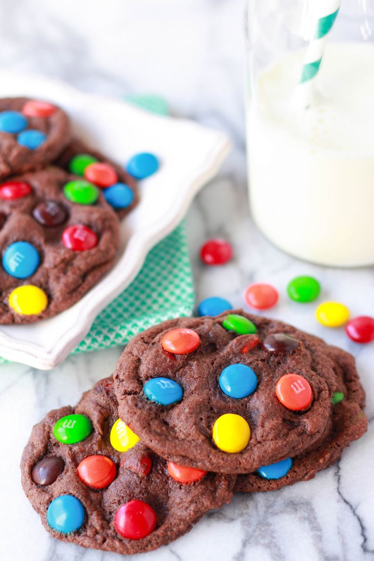 Soft and Chewy Chocolate M&M Cookies | Cookies | Pinterest