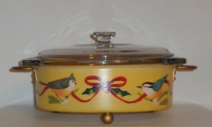 NEW Lenox Winter Greetings Handpainted Birds Metal Casserole & 2 Qt Covered Dish #Lenox
