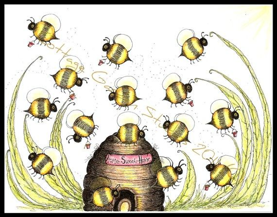 Folk Art, Bumble Bees, Bee Skep, Summer, MHA