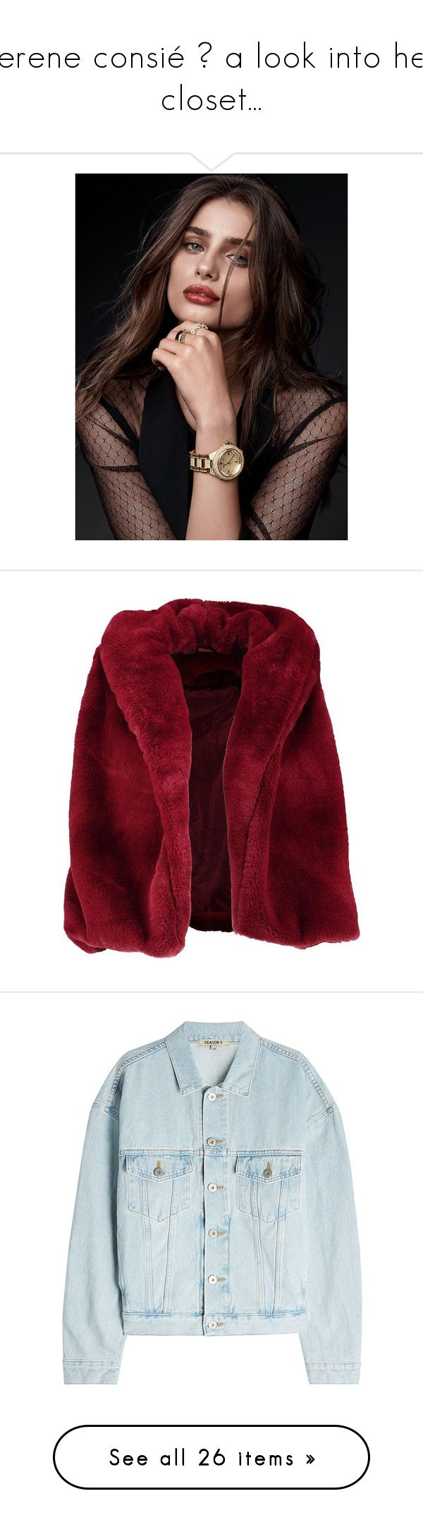"""""""serene consié ♛ a look into her closet..."""" by opul3nt on Polyvore featuring taylor hill, outerwear, vests, jackets, coats, fur, gilet vest, red faux fur vest, drapey vest and faux fur waistcoat"""