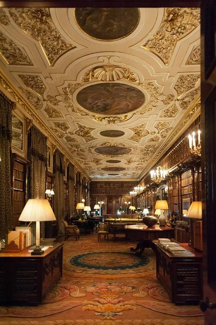 Chatsworth House library.  It is the largest private library in England with almost 27,000 books.