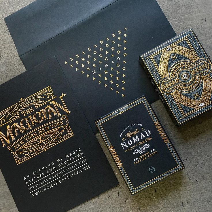«Invitation and tuck cases with #foilstamp by @chadmichaelstudio for @theory11 and @nomadmagician featuring @danwhitemagic»