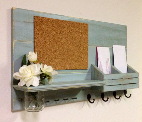 Shabby Chic Nautical Beach Cottage Cork Board Entryway Vase Flower Key ring Coat Rack Hanger Mail holder Organizer in Distressed Watery