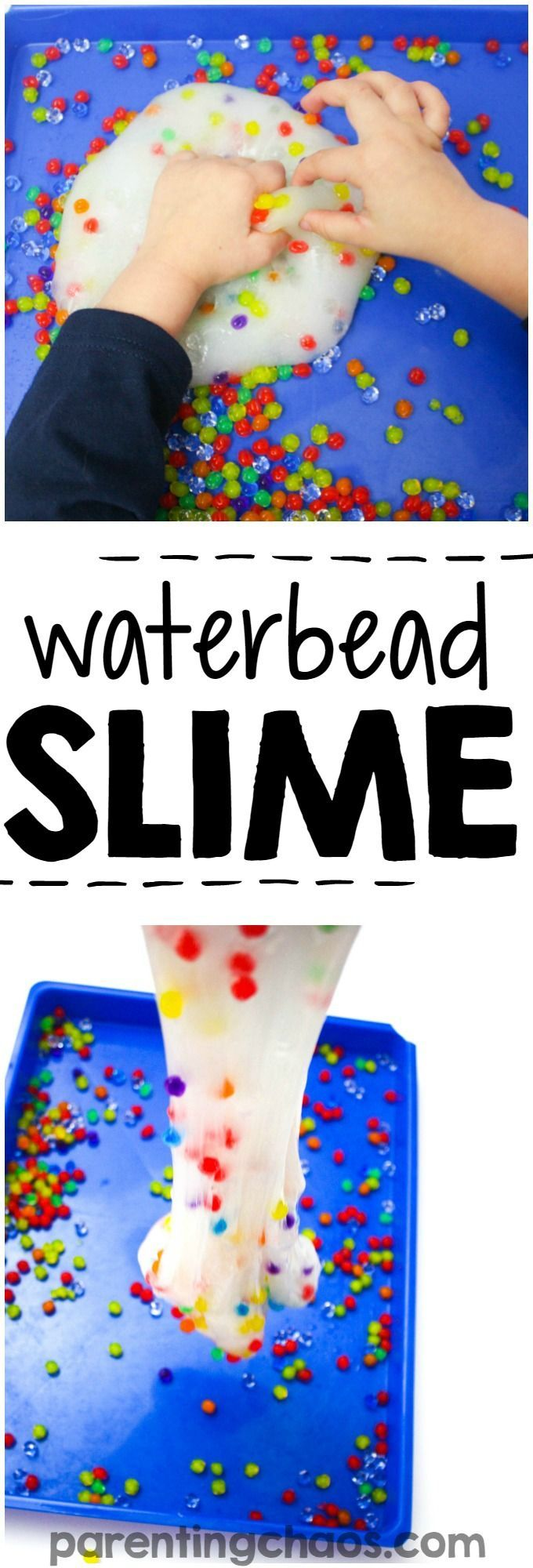 Learning how to make water bead slime is a super fun science activity! Plus it is a fun sensory bin to play with afterwards!