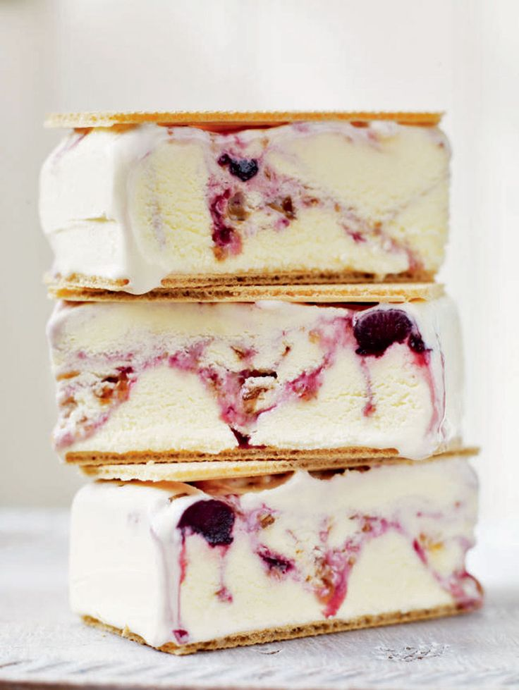 Two light wafers hold together cherry ripple and vanilla ice cream - it's the sandwich of dreams.