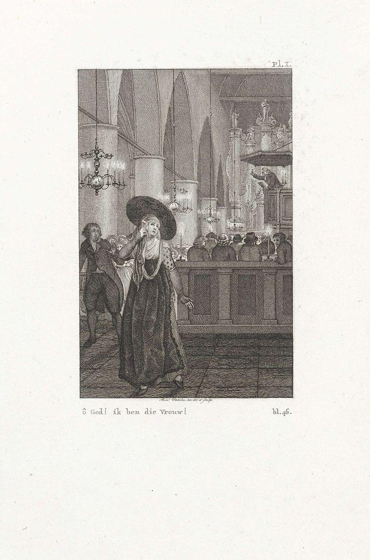 Reinier Vinkeles | Rinske verlaat de kerk, Reinier Vinkeles, 1815 | Tijdens de dienst verlaat Rinske de kerk. Haar man, Wigbold genaamd, komt achter haar aan. Illustratie bij het verhaal Rinske Heemstra.