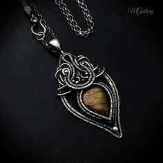 Pendant necklace with labradorite silver wire wrapped by GaleriaM