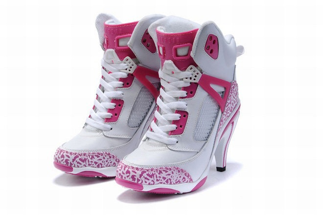 nike jordan 3.5 white and pink high heels ladies