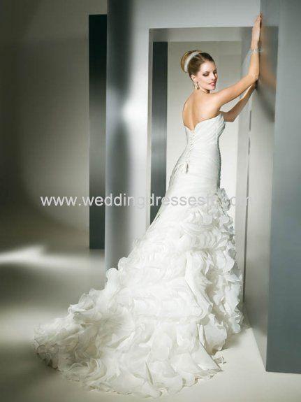 2011 Sirène- Amoureux robe de mariée blanche en organza avec traîne Chapelle - €128.38 : WeddingDressesFR.com, Acheter des robes de mariée, ...