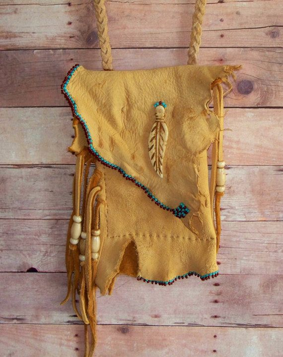 Fringed Beaded Deer Skin Medicine Bag or Cell Phone by misstudy