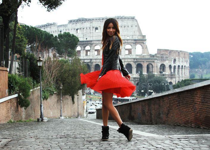 Red dress black wedges