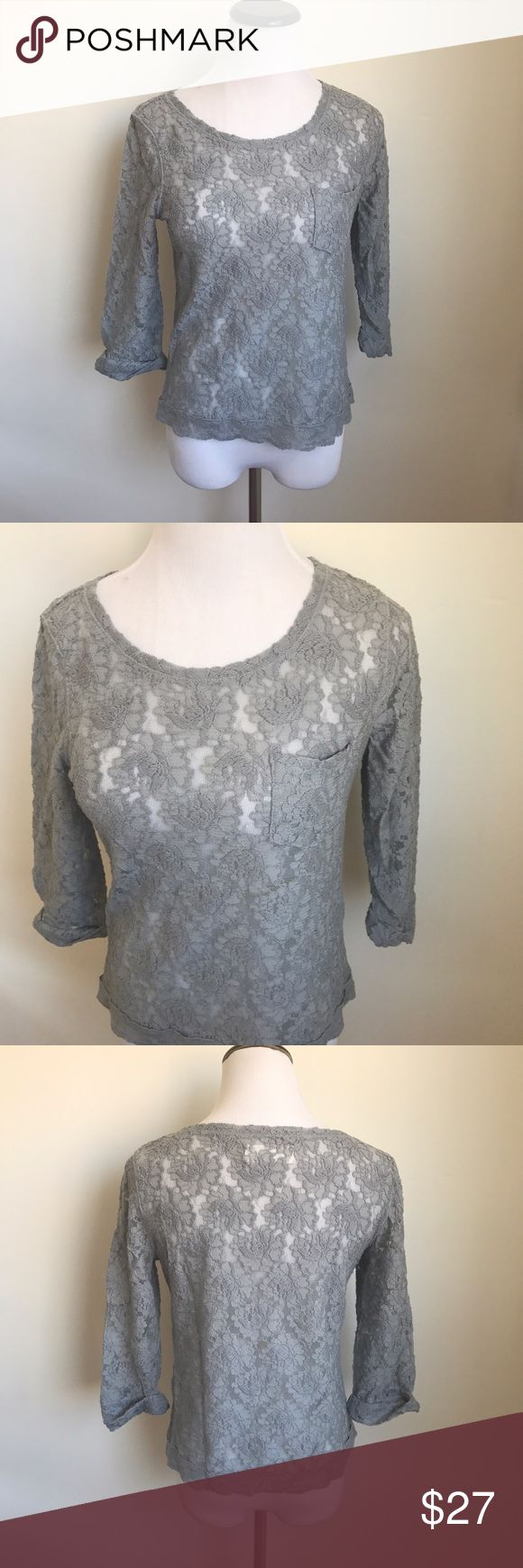 Abercrombie & Fitch Gray Lace Top Abercrombie and Fitch Gray Lace Top  Condition: great used condition   Size: small  Measurements Laying Flat: Underarm to underarm: 18 inches Total length: 21 inches   Check out my closet:  I have over 500 items.    👍🏻 Bundle and SAVE! 👍🏻 💰Discounts on Bundles 💰  💕Reasonable offers considered 💕 🙅🏻🙅🏻 NO TRADES 🙅🏻🙅🏻 🚫🚫NO MODELING🚫🚫 Abercrombie & Fitch Tops Blouses