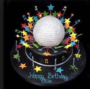 Disco themed party cake