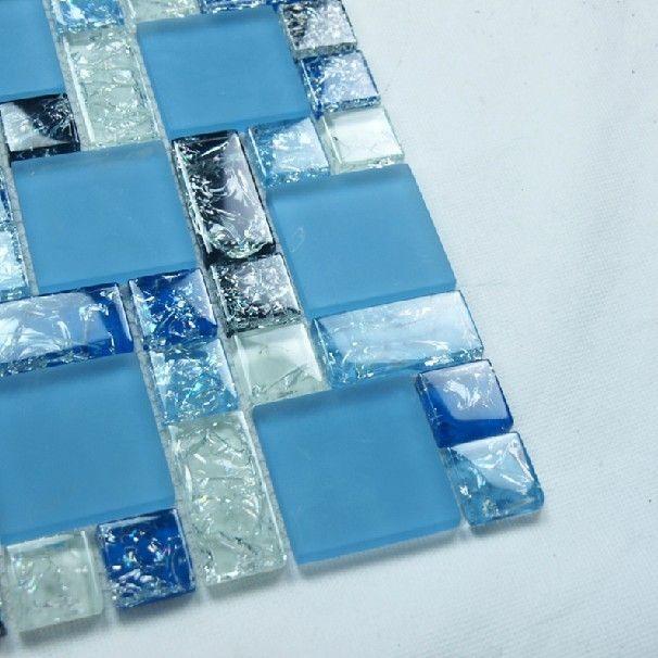 Azul de cristal del azulejo del mosaico para la piscina de - Vidrio para piscinas ...