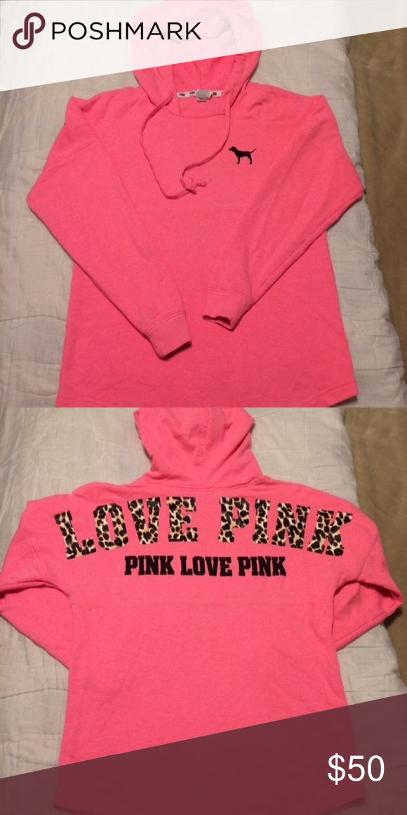 VS Pink !! CHEETAH! Varsity Hooded Pullover sz XSmall. Item is used, not new. Great condition! No holds/No trades. MORE VS Pink in my CLOSET! Victoria's Secret Tops Sweatshirts & Hoodies