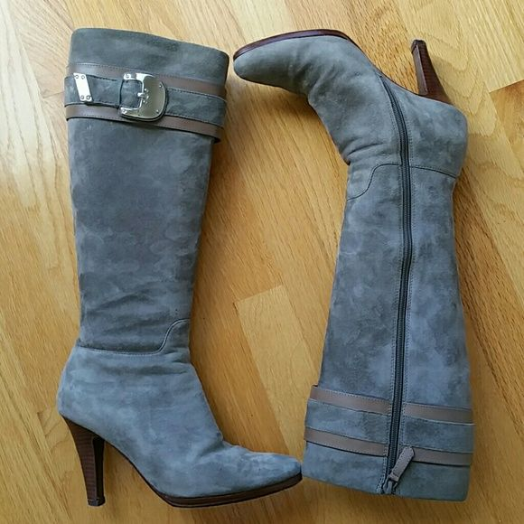 Cole Haan Nike Air Nicole Suede Knee-high Boot Classic Cole Haan boot in gray suede with horsebit buckle detailing and zip enclosure. Nike Air technology built inside midsole of boot.  Versatile boot for work, as well as casual and evening wear. Cole Haan Shoes Heeled Boots