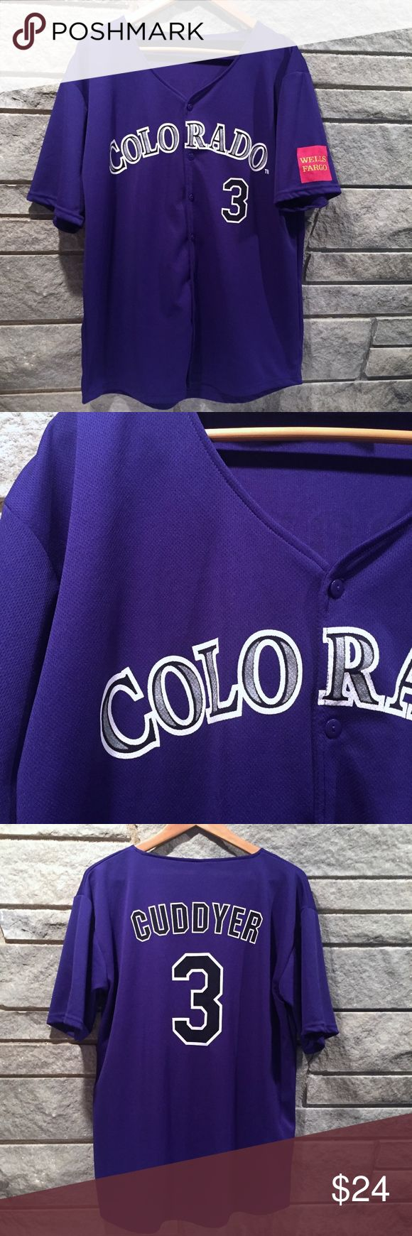 Colorado Rockies Michael Cuddyer #3 Button Jersey Colorado Rockies purple Michael Cuddyer button front jersey. One sleeve has Wells Fargo, the other is blank.  Size: Extra Large [XL] Condition: Good used condition - no holes, stains, or rips.  Brand: Unbranded but sponsored by Wells Fargo (logo on sleeve)   Feel free to send me any questions/comments or your best offer! Thanks for looking. Shirts