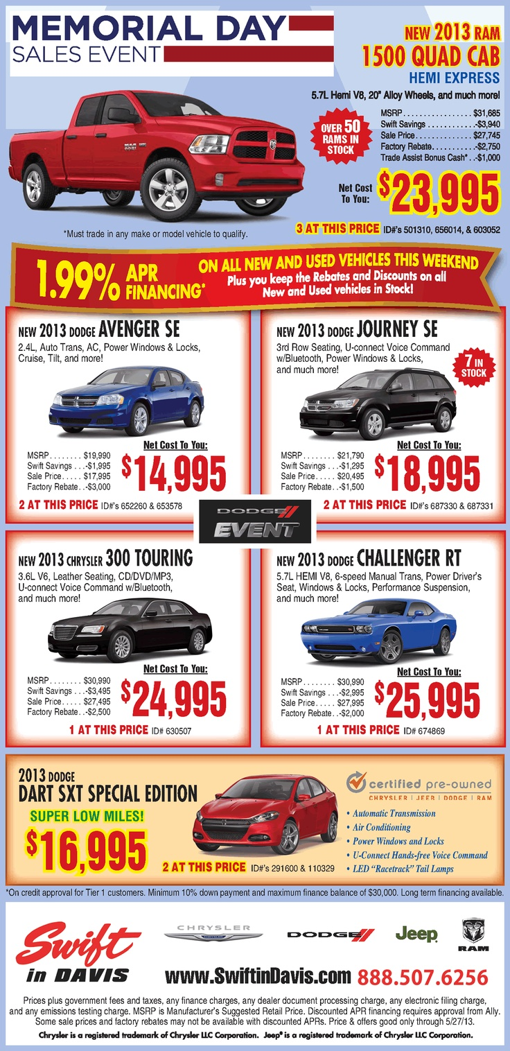 memorial day 2014 car sales events