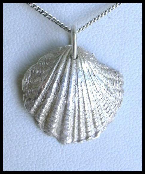 Precious Metal Clay Shell. Pure Silver 999 Unique Pendant