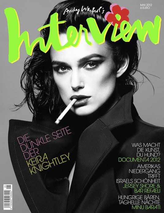 This stunning magazine cover of Keira Knightley was shot by the acclaimed black and white lens of Mert & Marcus. Styled by fashion editor Karl Templer, the contrast of monochrome and neon is a stunning feat for cover design. This cover differed to the April US edition of Interview by going with another photo from the shoot.