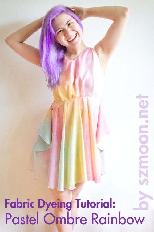 Tutorial: Dyeing Fabric Pastel Ombre Rainbow I've been craving a pastel rainbow dress for awhile now, but hadn't been able to find one in a cut that fits me and that is within my budget. Eventually I found a dress that I thought was perfect for what I had in mind: this nude shift dress from Romwe (it was around $26 when I purchased it, but it looks like it's even cheaper now!). After that, all I had to do was gather up some fabric dyes and get to work. :] Dyeing Different T...