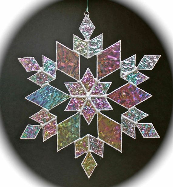stained glass snowflake suncatcher design 14 by bitsandglassart, $40.00