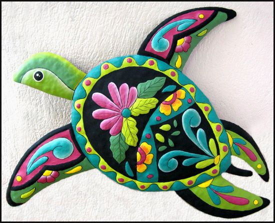 Turtle Painted Metal Wall Decor - Tropical Outdoor Patio Garden Art - Tropical wall art - Metal turtle, Beach home decor - Garden décor, Tropical interior decorating - Tropical decor - Painted metal art – Tropical Decorating - Tropical Design - Tropical wall decor