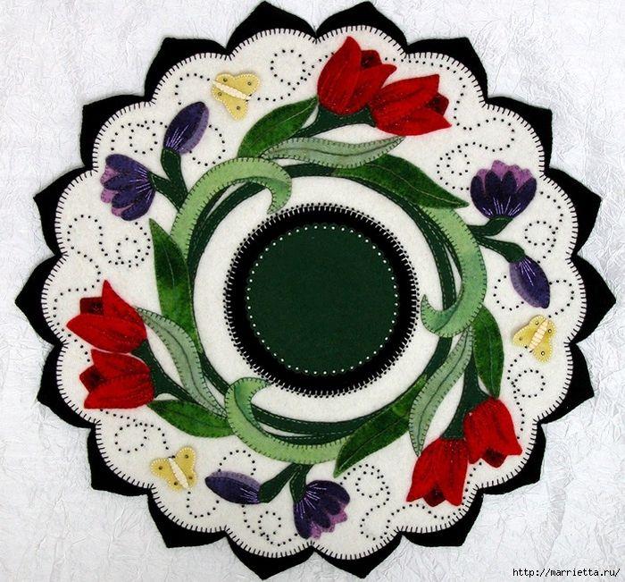 Yün uygulanması ile en güzel peçeteler keçe (2) (700x651, 417KB)