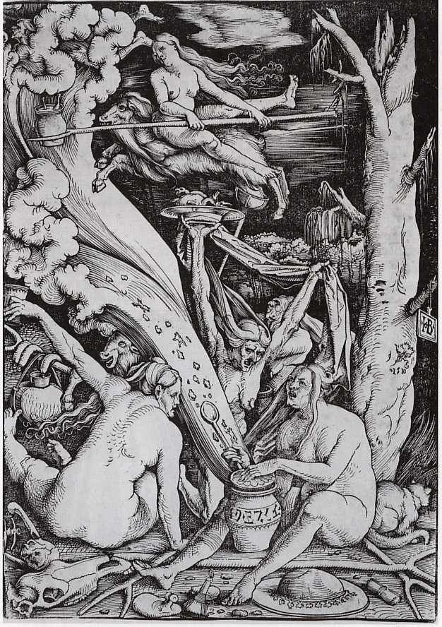 Hans Baldung Grien, Strassburg,Witches concocting an ointment to be used for flying to the Sabbath. 1514.