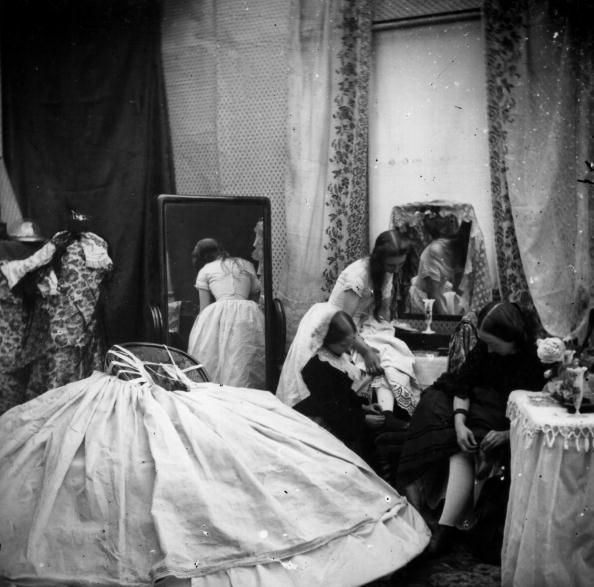 circa 1865: The interior of a Victorian boudoir. London Stereoscopic Company Comic Series - 455