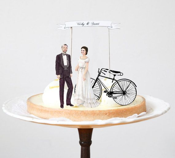 Victorian Wedding Cake Toppers Bride and Groom and Vintage Bicycle with Banner