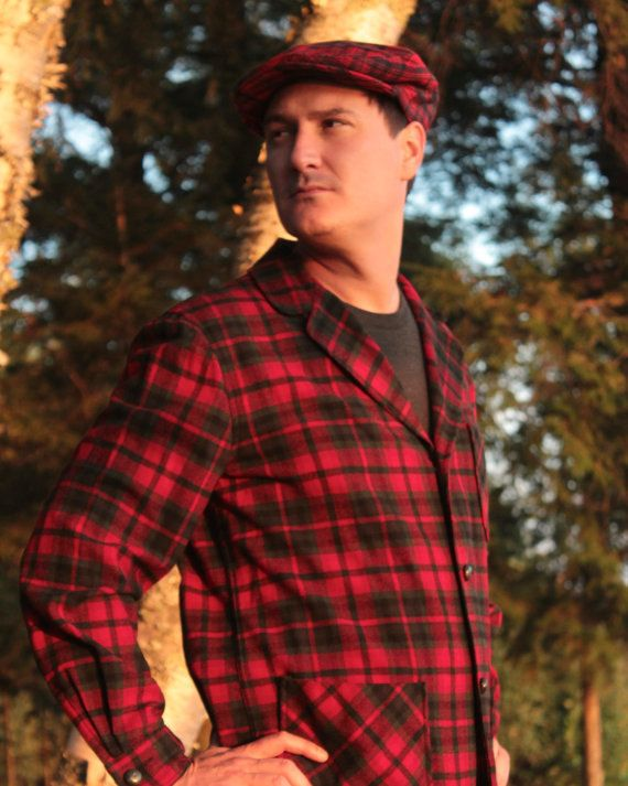 Vintage Plaid PENDLETON NewsBoy CABBIE HAT Modern Mens Classic Campus Fall  Winter Grandpa Holiday Retro Red Tartan…  b6debce28db