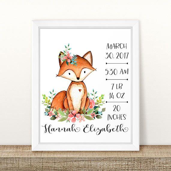 Birth Stats. Fox Birth Stats Wall Art.  Floral Fox Nursery Art. Personalized Baby Gift. Woodland Nursery Wall Art. Gift For Baby Girl. 8x10