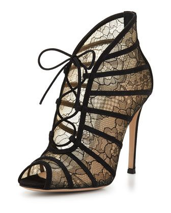 Chantilly Lace Open-Toe Bootie, Black/Nude by Gianvito Rossi at Neiman Marcus.