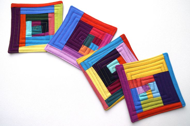 Eclectic Quilted Coasters Set of Four in Colorful Patchwork, Modern Fabric Drink Ware by MyBitOfWonder on Etsy https://www.etsy.com/listing/553934652/eclectic-quilted-coasters-set-of-four-in