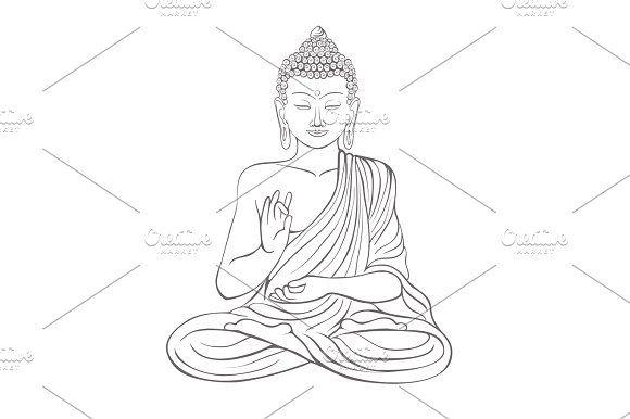 Gautama buddha with raised right hand on vector illustration by kanva777 on @creativemarket