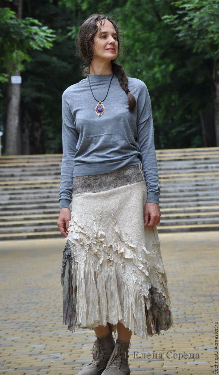 """Купить Валяная, шёлковая юбка """"Эко """" - 2 - серый, нунофелтинг, нуновойлок…"""