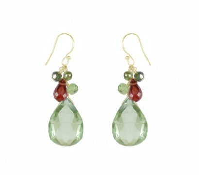Buy this piece Back E32/W13    14ct gold filled clustered fish hook earrings green Amethyst drop