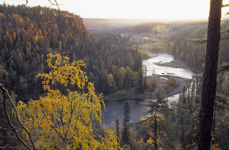Päähkänäkallio scenery spot above Kitka river in Oulanka National Park in Kuusamo, Finnish Lapland.