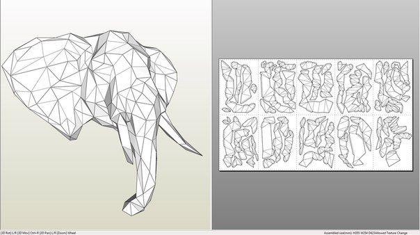 развертка головы слона