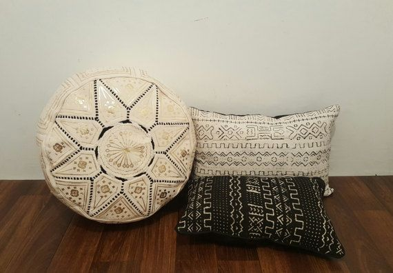 Authentic Moroccan Leather  Pouf,Handcrafted Leather Pouffe ottoman ,Footstool,PF01