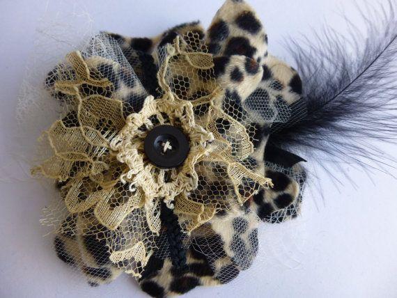 Glam Garb Fabric Flower Brooch Pin Wild Leopard Print by glamgarb