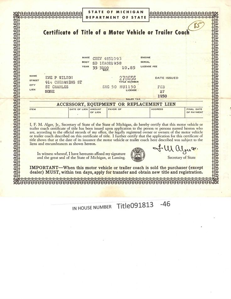 Pin On Auto Titles Historical Documents For Sale
