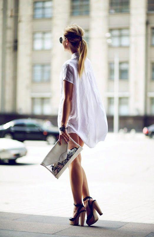 Le Fashion: SUMMER STYLE: WHITE SHIRTDRESS + PLATFORM SANDALS