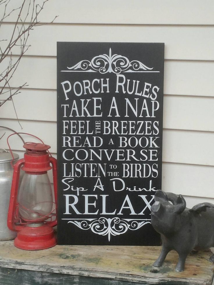 Vintage Style Custom Porch Rules Sign , Deck Rules Sign, Patio Rules Outdoor decor Typography Word Art Sign 11x20 by Wildoaks on Etsy https://www.etsy.com/listing/130261466/vintage-style-custom-porch-rules-sign