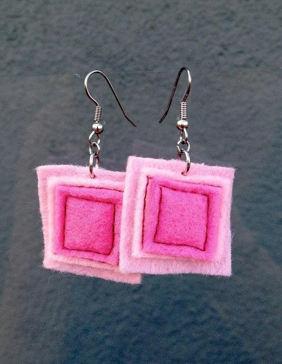 Pink Square Felt Earrings in Bubblegum by JulieMarieSink on Etsy, $7.00