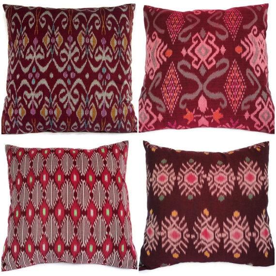 ikat pillow oxblood maroon set of 4 16x16