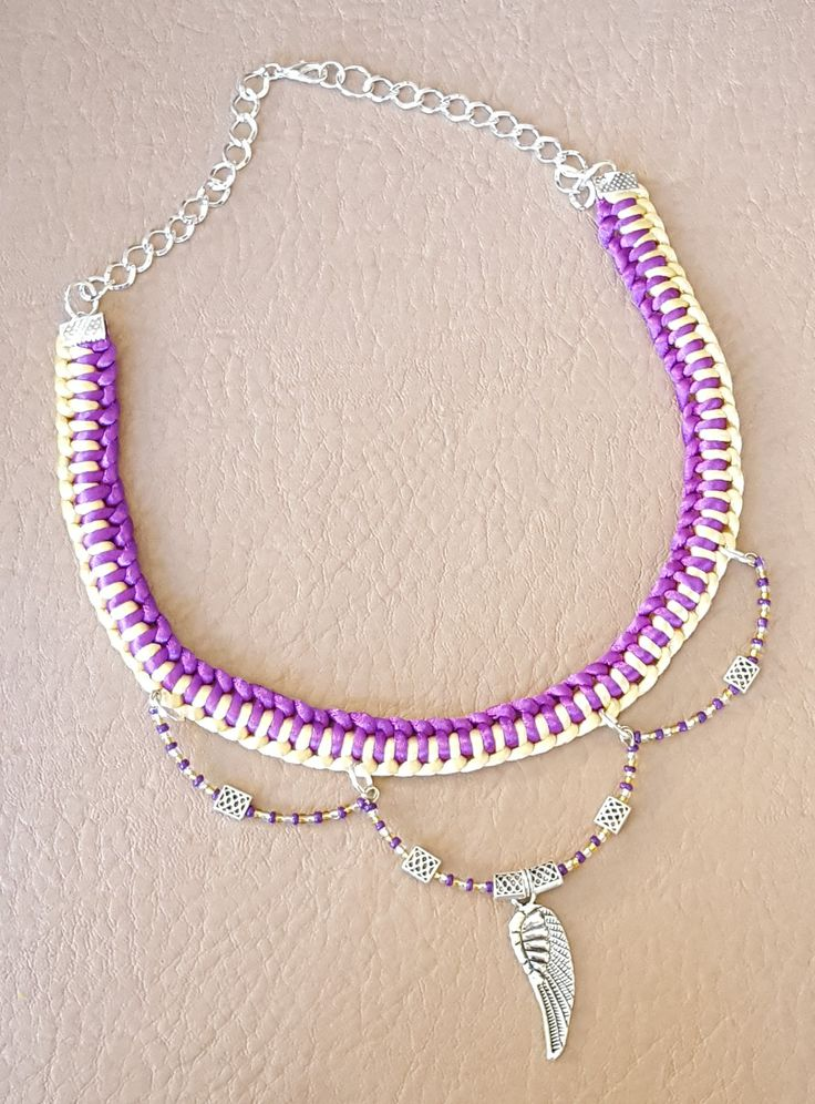 Yellow and Purple Single Genoese Bar Necklace with Memory Wire Beads and Charm Embellishment by KalaaStudio on Etsy