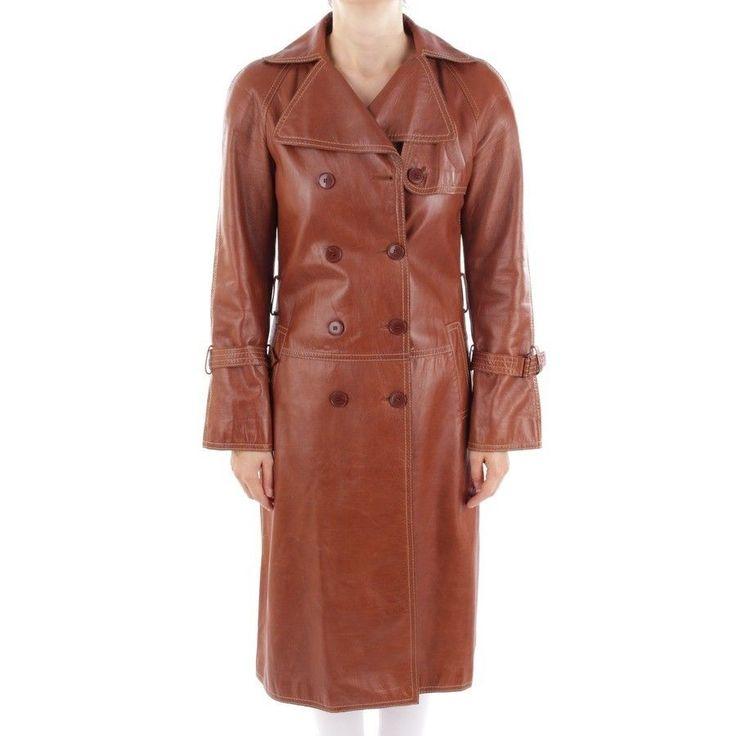 STRENESSE Ledermantel Gr. DE 34 Braun Damen Mantel Leder Leather Coat Manteau | eBay